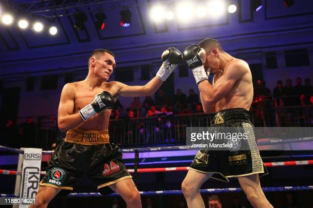 Alex Dilmaghani and Francisco Fonseca fight during the IBO World Title Fight at York Hall on November 16, 2019 in London, England.