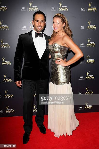 Alex Dimitriades and Anji Lake arrive at the 2012 AACTA awards at the Sydney Opera House on January 31 2012 in Sydney Australia