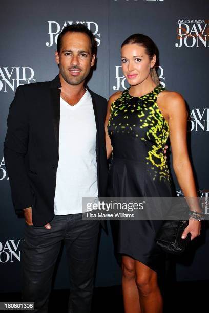 Alex Dimitriades and Anji Lake arrive at the David Jones A/W 2013 Season Launch at David Jones Castlereagh Street on February 6 2013 in Sydney...