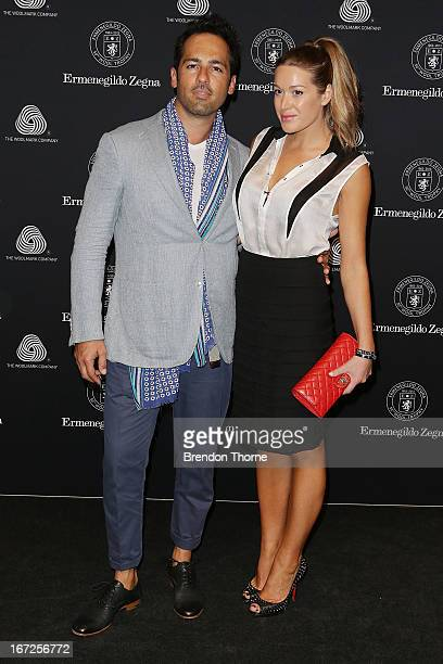 Alex Dimitriades and Anji Lake arrives at the Royal Hall of Industries Moore Park on April 23 2013 in Sydney Australia