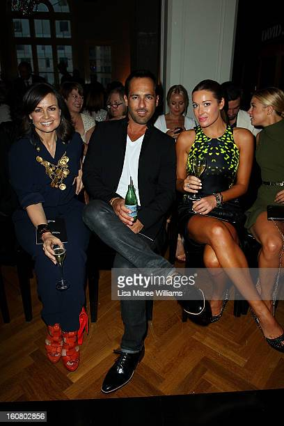 Alex Dimitriades and Anji Lake sit in the front row during the David Jones A/W 2013 Season Launch at David Jones Castlereagh Street on February 6...