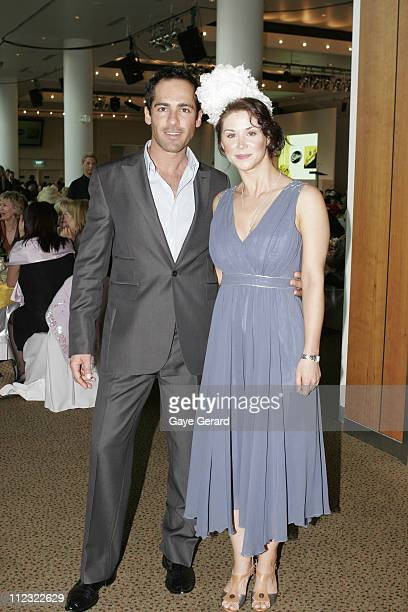 Alex Dimitriades and Kestie Morassi during Motorola Spring Fashion Week 2006 Flemington Spring Fashion Lunch at Flemington Racecourse in Melbourne...