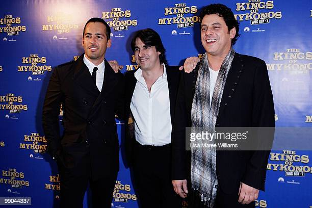Alex Dimitriades Nick Giannopoulos and Vince Colosimo attend the premiere of 'The Kings of Mykonos Wog Boy 2' at Event Cinemas Bondi Junction on May...