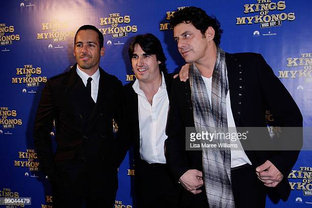 Alex Dimitriades Nick Giannopoulos and Vince Colosimo attend the premiere of The Kings of Mykonos Wog Boy 2 at Event Cinemas Bondi Junction on May 12...