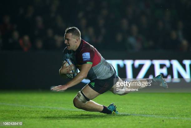 Alex Dombrandt of Harlequins scores the first try during the Gallagher Premiership Rugby match between Harlequins and Newcastle Falcons at Twickenham...