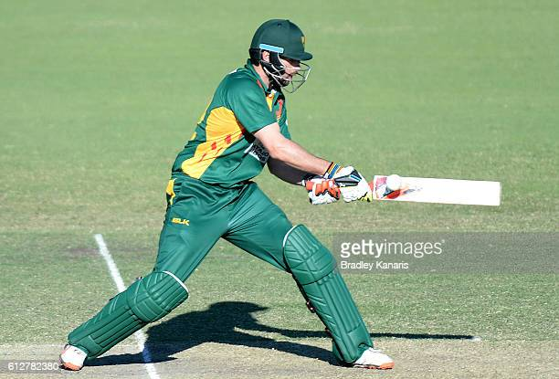 Alex Doolan of Tasmania plays a shot during the Matador BBQs One Day Cup match between Tasmania and the Cricket Australia XI at Allan Border Field on...