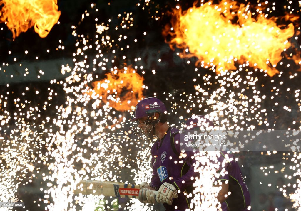 Alex Doolan of the Hurricanes makes his way out to bat during the Big Bash League match between the Hobart Hurricanes and the Brisbane Heat at Blundstone Arena on January 15, 2018 in Hobart, Australia.