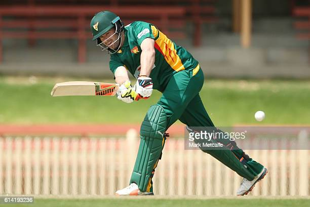 Alex Doolan of the Tigers bats during the Matador BBQs One Day Cup match between Victoria and Tasmania at North Sydney Oval on October 13 2016 in...