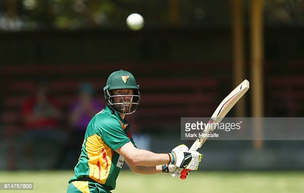 Alex Doolan of the Tigers bats during the Matador BBQs One Day Cup match between Tasmania and Western Australia at North Sydney Oval on October 15...