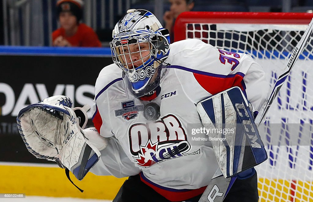 Alex D'Orio of Team Orr makes a save against Team Cherry during the first quarter of their Sherwin-Williams CHL/NHL Top Prospects Game at the Videotron Center on January 30, 2017 in Quebec City, Quebec, Canada.