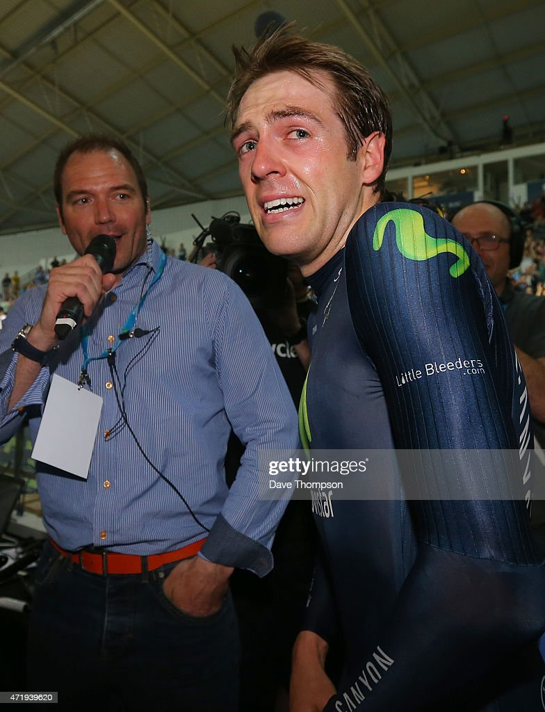 Alex Dowsett reacts after setting a new UCI Hour Record during the UCI Hour Record Attempt at the National Cycling Centre, on May 2, 2015 in Manchester, England.