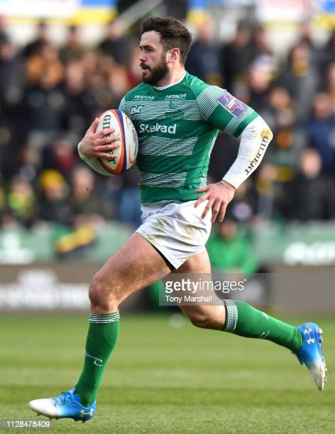 Alex Dunbar of Newcastle Falcons during the Premiership Rugby Cup Semi Final match between Northampton Saints and Newcastle Falcons at Franklin's...