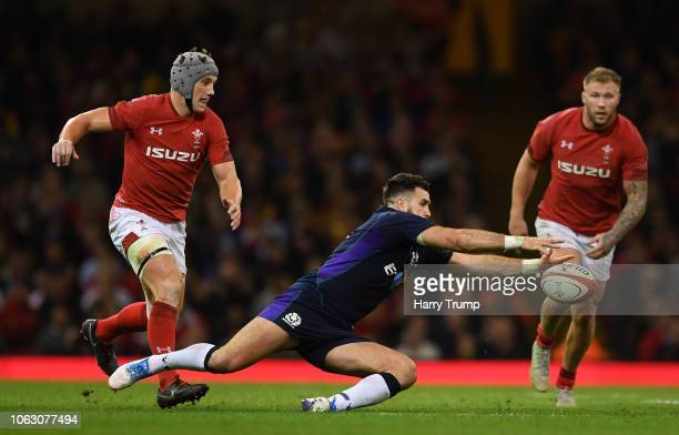 Alex Dunbar of Scotland dives on the ball during the International Friendly match between Wales and Scotland at the Principality Stadium on November...