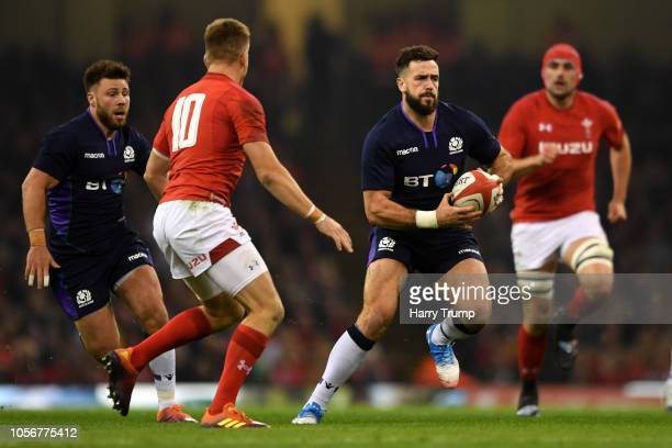 Alex Dunbar of Scotland makes a break with the ball during the International Friendly match between Wales and Scotland at the Principality Stadium on...