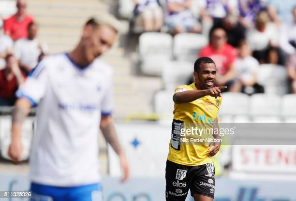 Alex Dyer of IF Elfsborg celebrates after scoring to 02 during the Allsvenskan match between IFK Norrkoping and IF Elfsborg at Ostgotaporten on July...