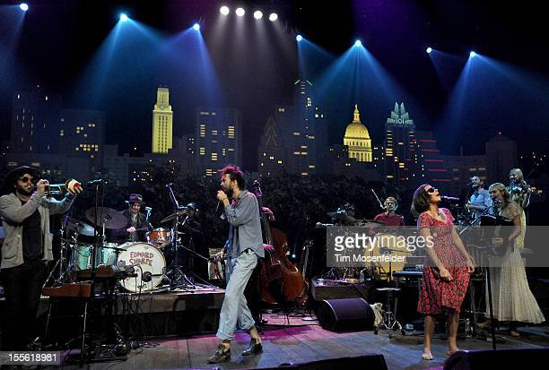 Alex Ebert and Jade Castrinos and Edward Sharpe and the Magnetic Zeroes perform during the bands' Austin City Limits taping at the Moody Theater on...