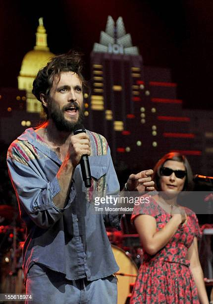 Alex Ebert and Jade Castrinos of Edward Sharpe and the Magnetic Zeroes perform during the bands' Austin City Limits taping at the Moody Theater on...