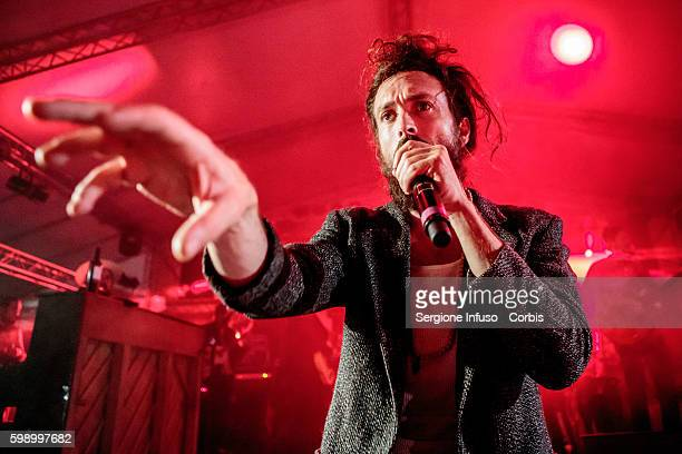 Alex Ebert of American indie folk band Edward Sharpe and the Magnetic Zeros performs live at Circolo Magnolia in Milan for Unaltrofestival Italy on...