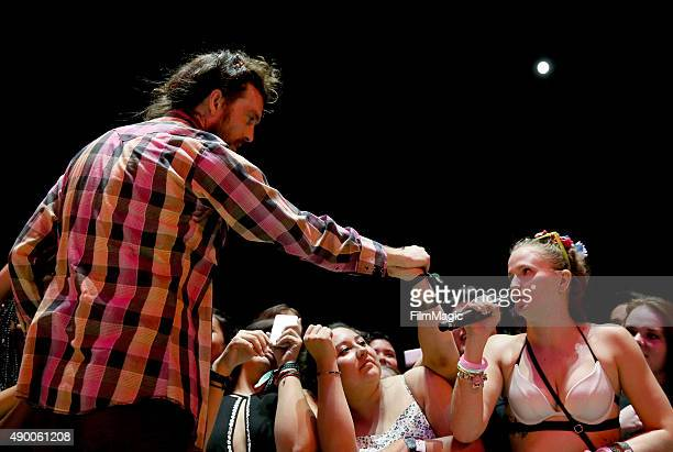 Alex Ebert of Edward Sharpe and the Magnetic Zeros performs onstage during day 1 of the 2015 Life is Beautiful festival on September 25 2015 in Las...