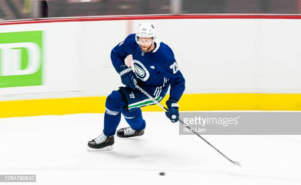 Alex Edler of the Vancouver Canucks skates on the first day of the Vancouver Canucks NHL Training Camp on January 2021 at Rogers Arena in Vancouver,...