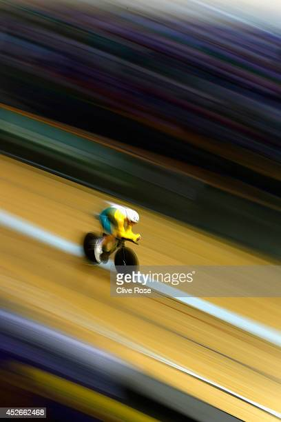 Alex Edmondson of Australia competes in the Men's 4000m Individual Pursuit qualifying at the Sir Chris Hoy Velodrome during day two of the Glasgow...