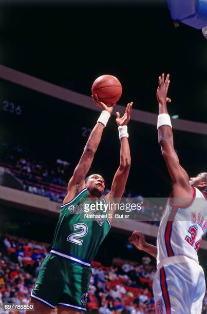 Alex English of the Dalls Mavericks shoots against the New Jersey Nets circa 1990 at the Brendan Byrne Arena in East Rutherford New Jersey NOTE TO...