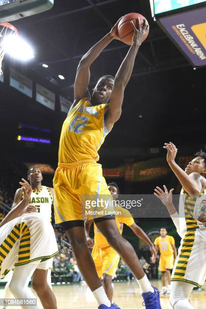 Alex Ennis of the Southern University Jaguars pulls down a rebound during a college basketball game against the George Mason Patriots at the Eagle...