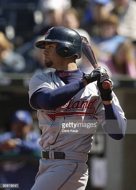 Alex Escobar of the Cleveland Indians bats during the game against the Kansas City Royals at Kauffman Stadium on April 8 2004 in Kansas City Missouri...