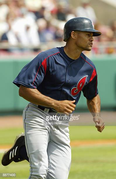 Alex Escobar of the Cleveland Indians runs to first base during the game against the Tampa Bay Devil Rays at Progress Energy Park on March 12 2004 in...