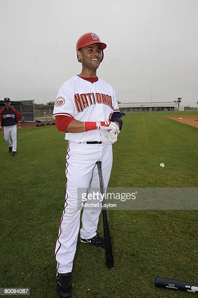 Alex Escobar of the Washington Nationals looks on during spring training work outs on February 24 2008 at Space Coast fields in Melbourne Florida