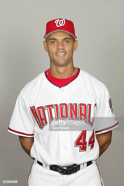 Alex Escobar of the Washington Nationals poses for a portrait during photo day at Space Coast Stadium on February 26 2005 in Viera Florida