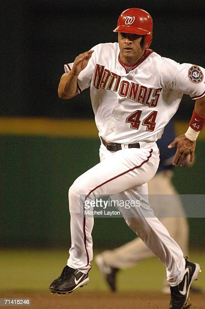 Alex Escobar of the Washington Nationalss runs to third base during a baseball game against the San Diego Padres on July 7 2006 at RFK Stadium in...