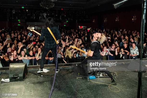 Alex Espiritu and Josh Katz of Badflower perform at El Rey Theatre on February 22 2019 in Los Angeles California
