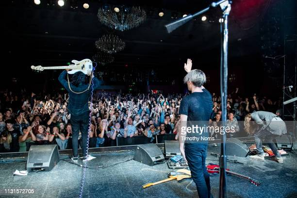Alex Espiritu Josh Katz and Joey Morrow of Badflower perform at El Rey Theatre on February 22 2019 in Los Angeles California
