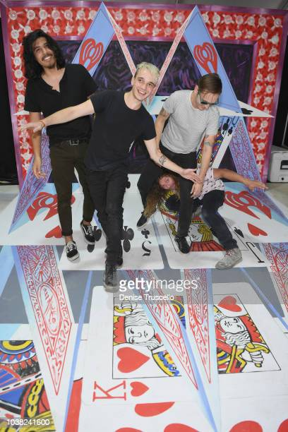Alex Espiritu Josh Katz Anthony Sonetti and Joey Morrow of Badflower pose backstage during the 2018 iHeartRadio Music Festival Daytime Stage at the...