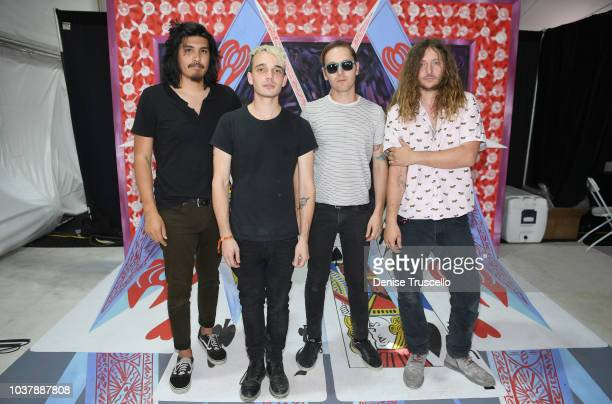 Alex Espiritu Josh Katz Anthony Sonetti and Joey Morrow pose of Badflower pose backstage during the 2018 iHeartRadio Music Festival Daytime Stage at...