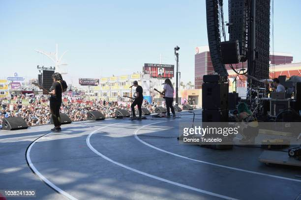 Alex Espiritu Josh Katz Joey Morrow and Anthony Sonetti of Badflower perform onstage during the 2018 iHeartRadio Music Festival Daytime Stage at the...