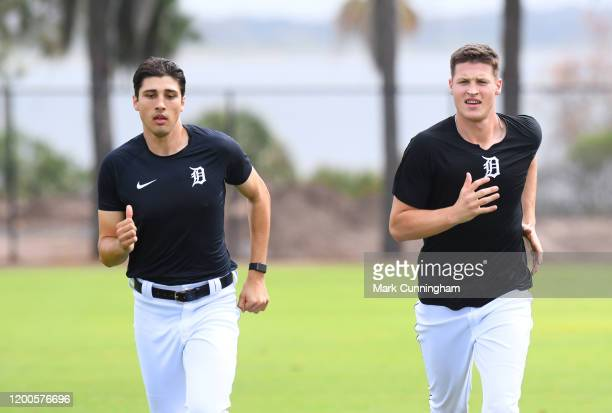 Alex Faedo and Matt Manning of the Detroit Tigers run together during Spring Training workouts at the TigerTown Facility on February 13, 2020 in...