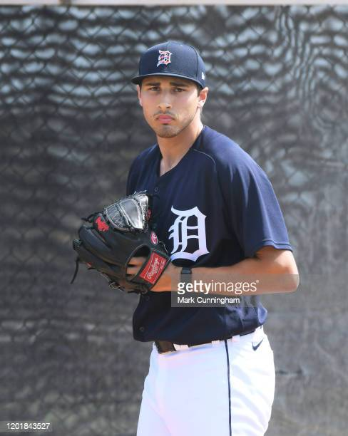 Alex Faedo of the Detroit Tigers looks on during Spring Training workouts at the TigerTown Facility on February 18, 2020 in Lakeland, Florida.