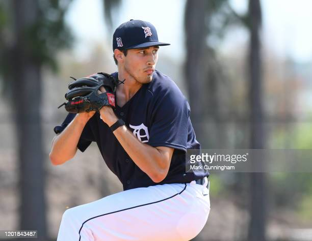 Alex Faedo of the Detroit Tigers pitches during Spring Training workouts at the TigerTown Facility on February 18, 2020 in Lakeland, Florida.