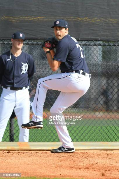Alex Faedo of the Detroit Tigers pitches during Spring Training workouts at the TigerTown Facility on February 15, 2020 in Lakeland, Florida.