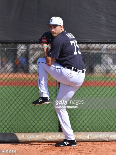Alex Faedo of the Detroit Tigers pitches during Spring Training workouts at the TigerTown Facility on February 14 2018 in Lakeland Florida