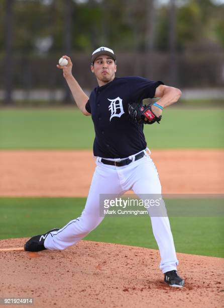 Alex Faedo of the Detroit Tigers pitches during Spring Training workouts at the TigerTown Facility on February 20, 2018 in Lakeland, Florida.