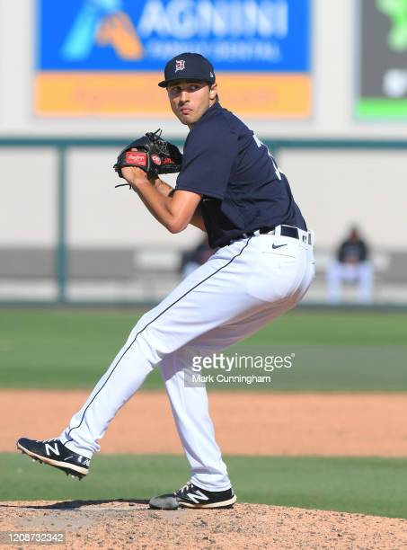 Alex Faedo of the Detroit Tigers pitches during the Spring Training game against the Toronto Blue Jays at Publix Field at Joker Marchant Stadium on...