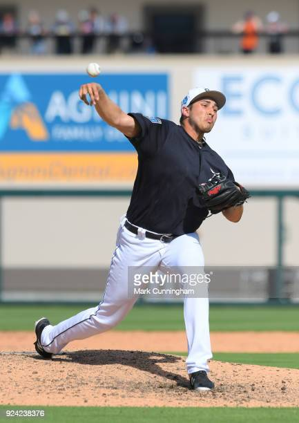 Alex Faedo of the Detroit Tigers pitches during the Spring Training game against the Pittsburgh Pirates at Publix Field at Joker Marchant Stadium on...