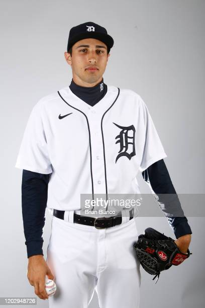 Alex Faedo of the Detroit Tigers poses for a photo during the Tigers' photo day on February 20, 2020 at Joker Marchant Stadium in Lakeland, Florida.