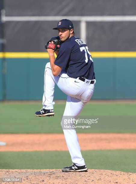 Alex Faedo of the Detroit Tigers throws a warm-up pitch during the Spring Training game against the Toronto Blue Jays at Publix Field at Joker...