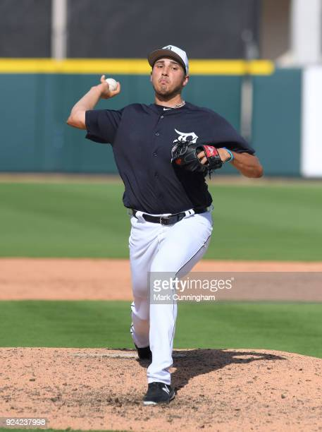 Alex Faedo of the Detroit Tigers throws a warm-up pitch during the Spring Training game against the Pittsburgh Pirates at Publix Field at Joker...