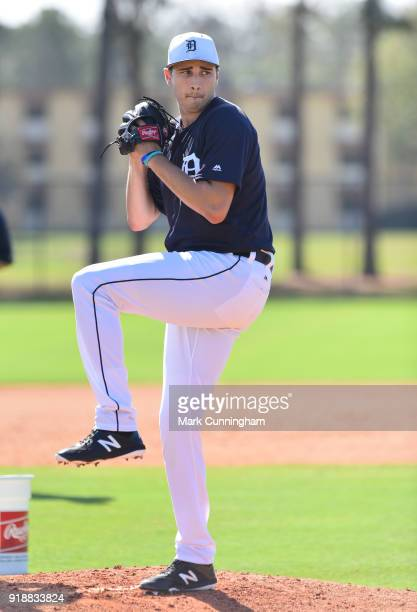 Alex Faedo of the Detroit Tigers works on a pitching drill during Spring Training workouts at the TigerTown Facility on February 14, 2018 in...