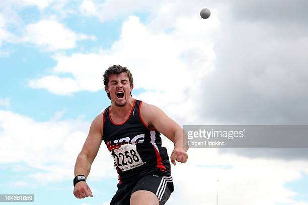 Alex Faefita of Hawkes Bay/Gisbourne competes in the under20 men's shot put final during the New Zealand Track and Field Championships at Mt Smart...